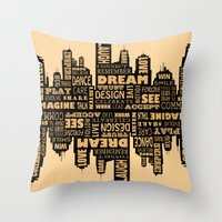 motivational Throw Pillows featuring Motivational by Andreea Red