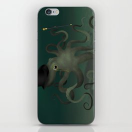 Octopus with a top hat iPhone Skin