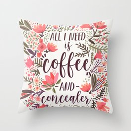 Coffee & Concealer – Vintage Palette Throw Pillow
