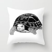 tortoise Throw Pillows featuring Tortoise by Emma Barker