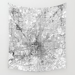 Indianapolis White Map Wall Tapestry