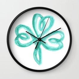 Celtic Shamrock Watercolor Wall Clock
