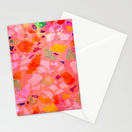 Sea Glass Abstract Pattern in Pink Stationery Cards