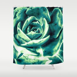 closeup green succulent plant texture abstract background Shower Curtain
