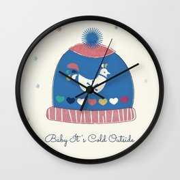 Baby it's cold outside- winter hat Wall Clock