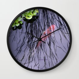 GoldFish In The Pond By Annie Zeno Wall Clock