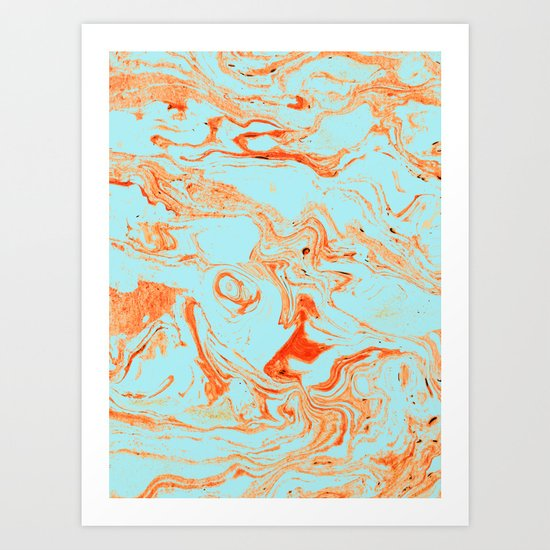 Flamingo + Sea Marble #society6 #decor #buyart Art Print