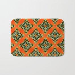 Beautiful Orange, Blue and Yellow beadwork inspired print Bath Mat