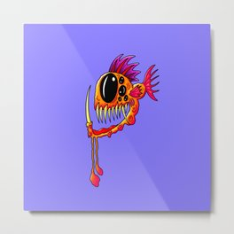 Creatures from the deep dark sea - Groovy Fang Angler Fish Metal Print