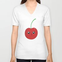 cherry V-neck T-shirts featuring cherry by GarethAdamson