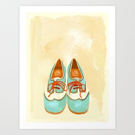 Retro Aqua Bowling Shoes Art Print