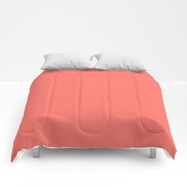 Living Coral Pantone Solid Color Block Comforters