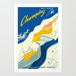 Vintage Champery Switzerland Travel Art Print