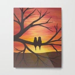 Lovebirds in the sunset Metal Print