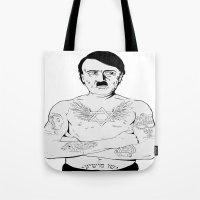 jewish Tote Bags featuring Adolf Hitler Jewish Tattoo by Jacinta Stokes