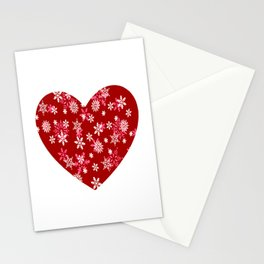Red Heart Of Snowflakes Loving Winter and Snow Stationery Cards
