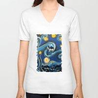 daenerys targaryen V-neck T-shirts featuring Tardis Starry Night by DavinciArt