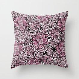 Wildflowers (Blushing Magenta) Throw Pillow