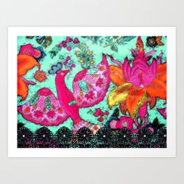 Bird and Flowers with lace Art Print