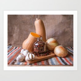 Spices Edition Squash Onions Garlic Dried Sweet Peppers Art Print