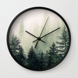 Foggy Pine Trees Wall Clock