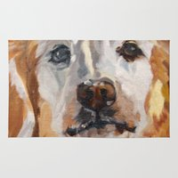 gemma correll Area & Throw Rugs featuring Gemma the Golden Retriever by Barking Dog Creations Studio