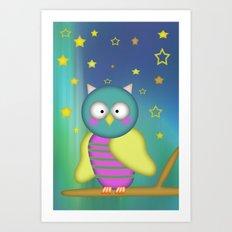 Good Night little Owl Art Print