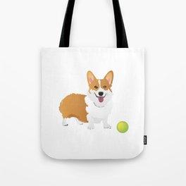 Corgi Dog with a Green Ball Tote Bag