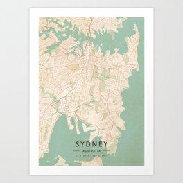 Sydney, Australia - Vintage Map Art Print
