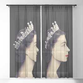HRH QUEEN ELIZABETH II - THE YOUNG QUEEN IN PROFILE Sheer Curtain