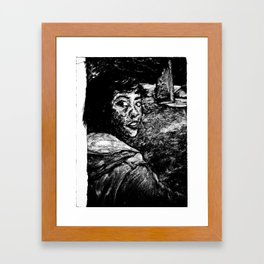 monoprint of girl Framed Art Print