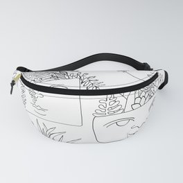 Illustrated Plant Faces in White Fanny Pack