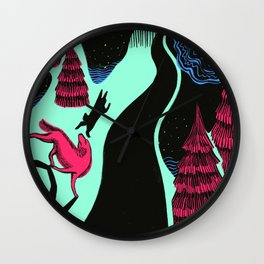 Through the Mountains at Night Wall Clock