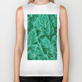 Green With Envy Layered Leaf Textures Biker Tank