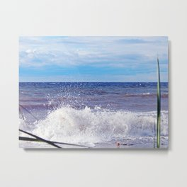 Wave Crashing onto the Beach Metal Print
