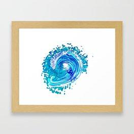 Vintage Watercolor Splash Big Wave Surfing Framed Art Print