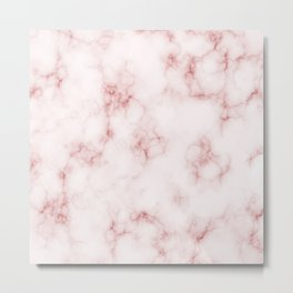 Amazing Light Marble with Coral Veins Metal Print
