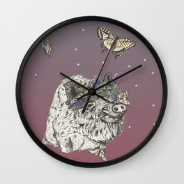 The Boar and the Butterflies at Dusk Wall Clock