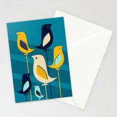 Mid Century Birds Blue Stationery Cards