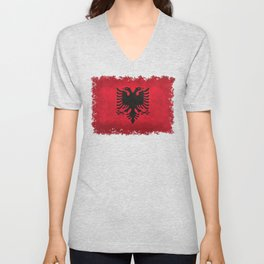 National flag of Albania with Vintage textures Unisex V-Neck