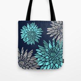 Floral Chrysanthemum Modern Navy Aqua Tote Bag