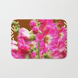 Coffee Brown Fuchsia Pink Holly Hocks Pattern Flora Art Bath Mat