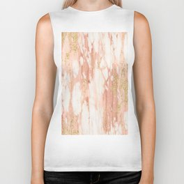Rose Gold Marble - Rose Gold Yellow Gold Shimmery Metallic Marble Biker Tank