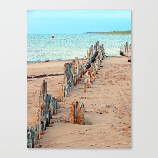 Wharf Remains on the Beach Canvas Print