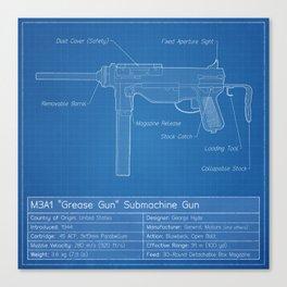 M3A1 Grease Gun Blueprint Canvas Print
