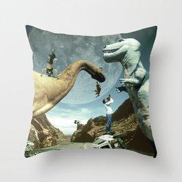 Dinosaur Road Trip Throw Pillow