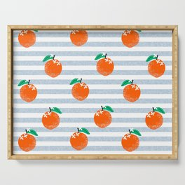 Orange fruit pattern with stripes fun pattern for boys or girls room Serving Tray