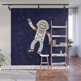 Sloth Spaceman Wall Mural