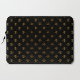 Foil Bees on Black Gold Metallic Faux Foil Photo-Effect Bees Laptop Sleeve