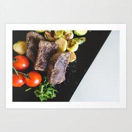 Beef Steaks With Vegetables Art Print